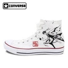 Белые кроссовки All Star Converse Для мужчин женская обувь аниме Gintama Дизайн ручной росписью обувь для мальчиков и девочек высокие холщовые кроссовки