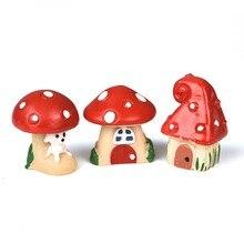 3шт% 2FSet милый мультфильм красный гриб дом поделки смола фея сад ремесло украшение миниатюра микро гном террариум рождество подарок