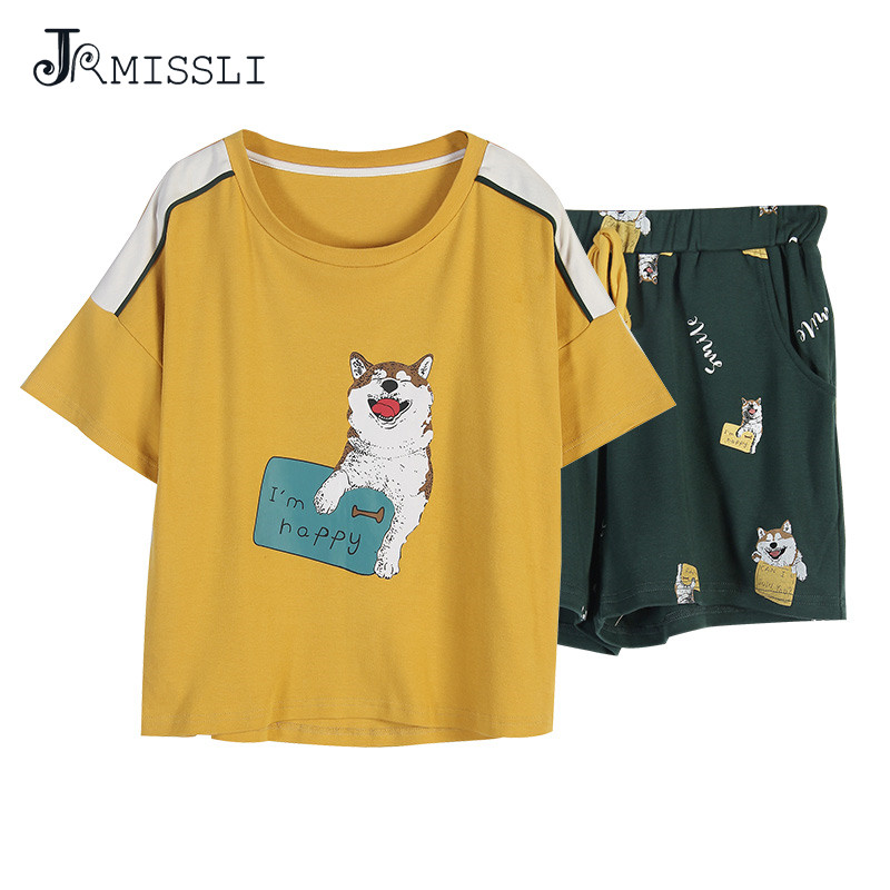 JRMISSLI New Plus size Animal Dog sleepwear women 100% cotton summer home short women   pajamas     sets   casual pyjamas M-XXL