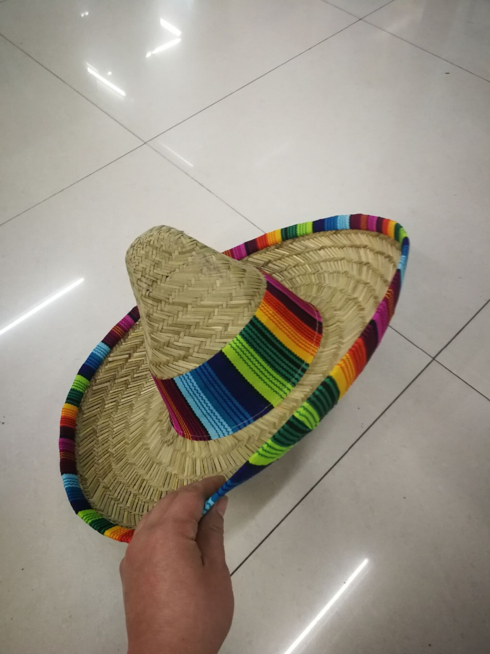 Natural  Men Straw Mexican Sombrero  Hat Women Colorful  Birthday Party Decoration Tabletop Party Hats L3