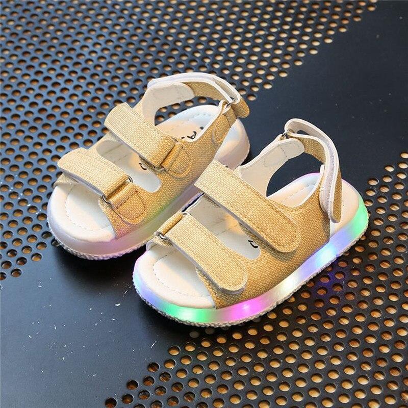 baby sport shoes kids beach leather sandals Male female child sandals boys girl sport sandals light led slip-resistant children