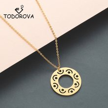 Todorova Vintage Minimal Dainty Circle Necklace Women Jewelry Stainless Steel Gold Chain Geometric Karma Round Pendant Necklace(China)