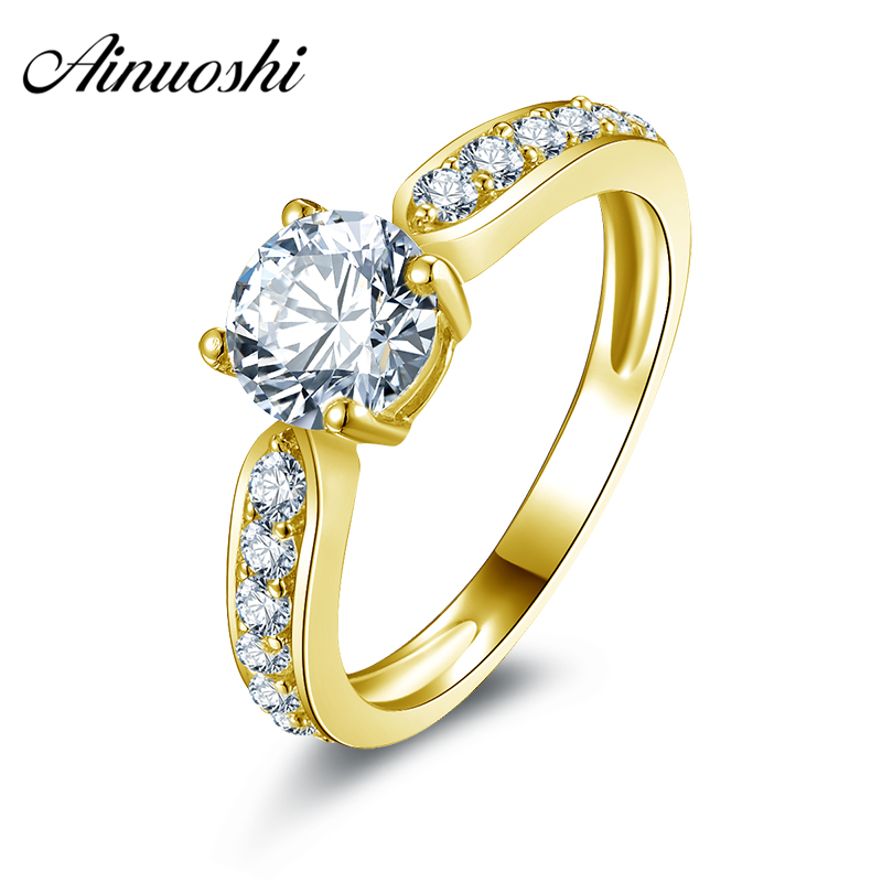 AINUOSHI 10k Solid Yellow Gold Women Wedding Rings Classic 1 Carat Anel de ouro Simulated Diamond Jewelry Bridal Wedding Ring ainuoshi 10k solid yellow gold wedding ring 2 ct round cut simulated diamond anel de ouro female wedding rings for women gifts