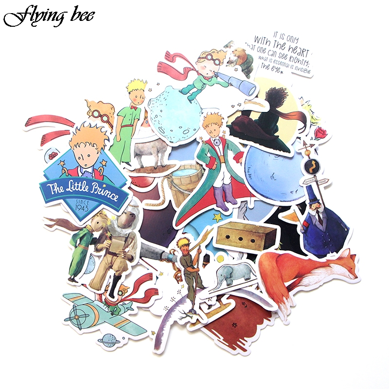 Flyingbee 23 Pcs Little Prince Cartoon Stickers for Kids DIY Luggage Laptop Skateboard Car Bicycle Waterproof Sticker X0023-in Stickers from Consumer Electronics