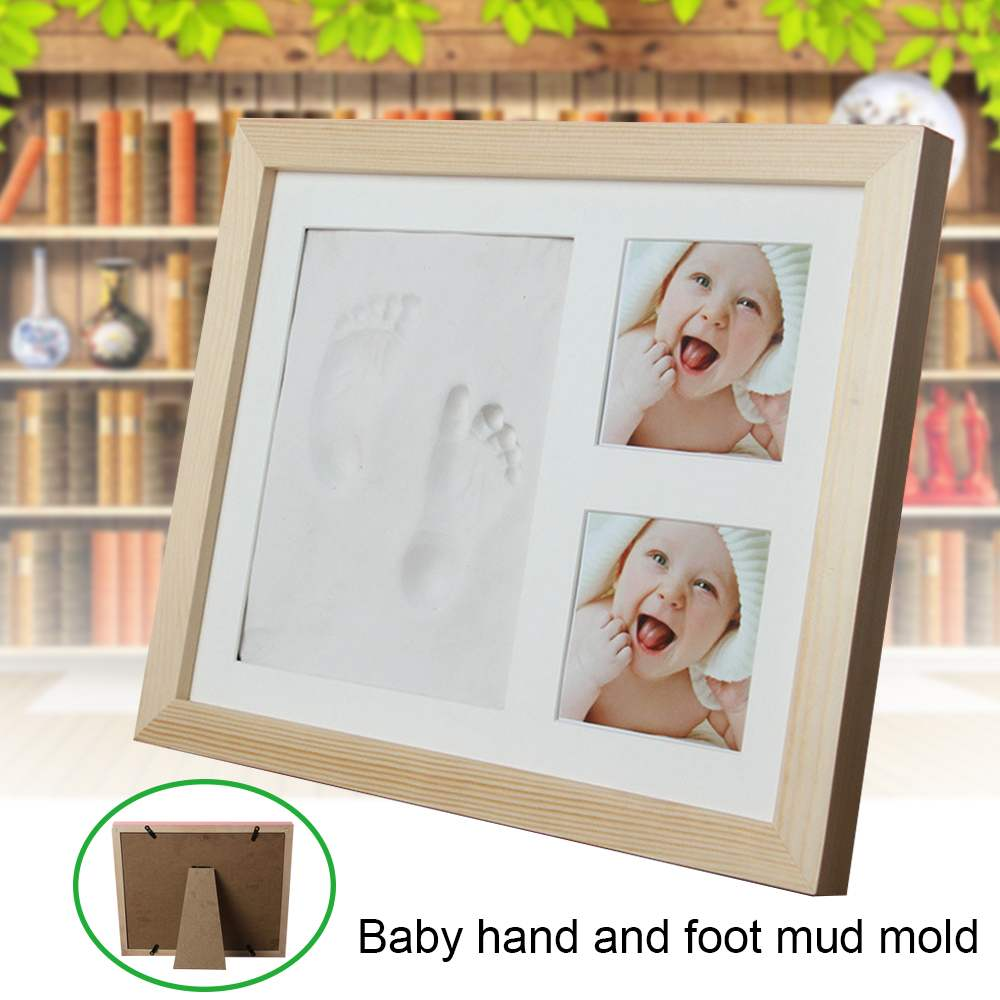 DIY Baby Photo Frame Inkpad Set Cute Hand Foot Print Mold Maker With Cover Fingerprint Mud Baby Growth Memorial Birthday Gifts