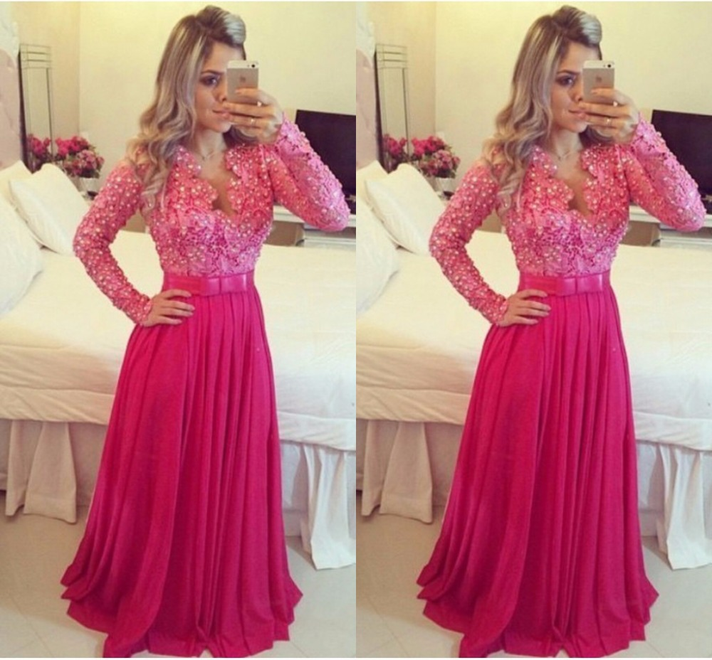 Hot sale Lace Long Sleeve Prom Dress with Plunging V neck Luxury ...