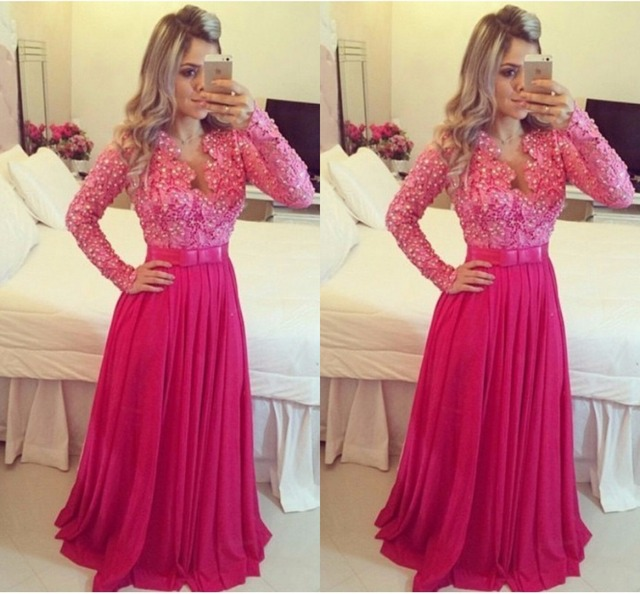 Hot Sale Lace Long Sleeve Prom Dress With Plunging V Neck Luxury