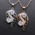 Fashion Jewelry Hollow out Nine Ablaze Crystal&Cubic Zirconia Pendant Necklace Gold Plated