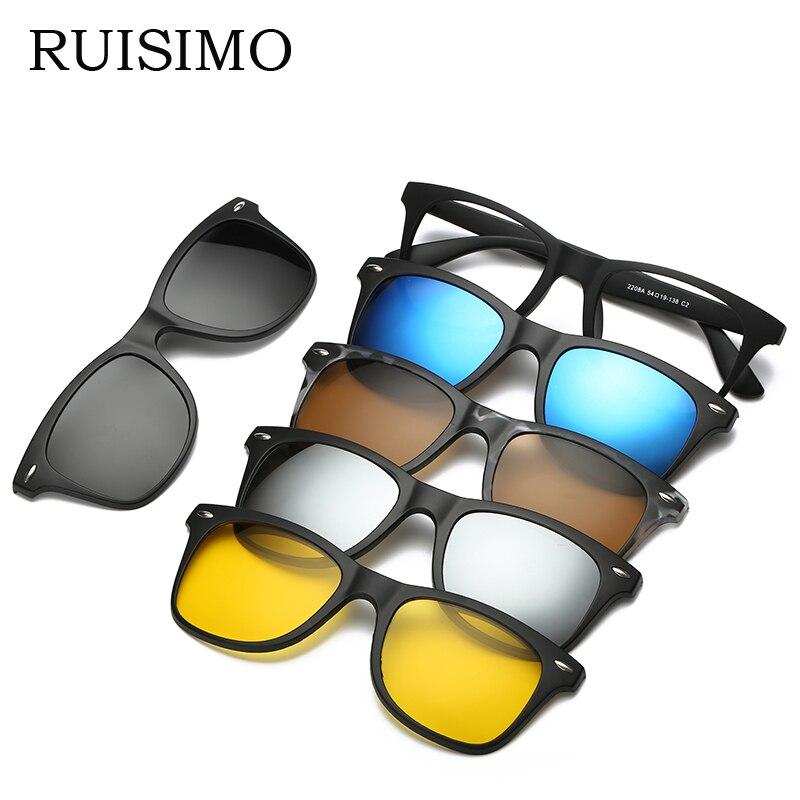 RUISIMO 5 lenes Magnet Sonnenbrillen Clip Gespiegelt Klipp auf Sonnenbrille clip auf gläser Männer Polarisierte Clip Custom Rezept Myopie