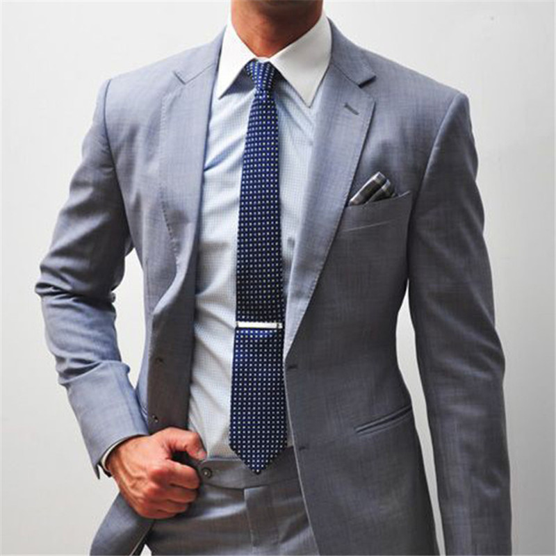 Two Piece Gray Business Party Mens Suit 2018 Notched Lapel Two Button Slim Fit Groom Masculino Tuxedo Wedding Wear Suits For Men