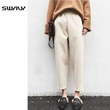 SWYIVY Women Woolen Pants Casual Loose 2018 Autumn Winter New Female Warm Harem Trousers Outwear Woman Wool Plus Size XXXL