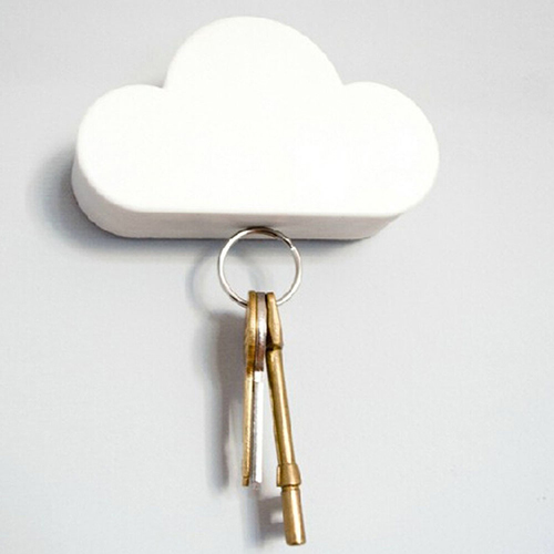 Creative Cloud Vormige Magnetische Zelfklevende Huis Muur Sleutelhouder Rack Hanger Een Plastic Behuizing Is Gecompartimenteerd Voor Veilige Opslag