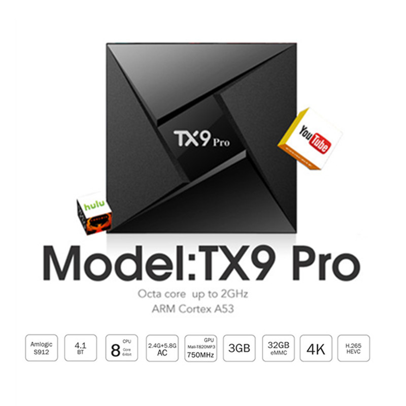 Tanix TX9 Pro Android 7.1 Smart TV Box Amlogic S912 Octa core 3GB 32GB Bluetooth 4.1 1000M LAN 4K HDMI Set-top Box PK H96 X92 h96 pro plus tv box smart android 7 1 s912 bt4 1 octa core 4k 3gb 32gb 1000lan 2 4g 5 0g wifi media player pk x92 tx9 pro