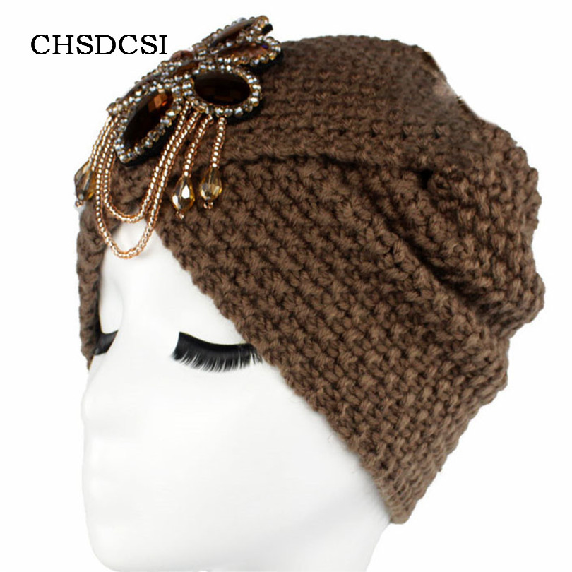 цены Winter Warm Diamond Beanies Women Skullies Soft Knit Bow Headwrap Woolen Turban Ladies Metal Jewel Accessory Crochet Cap M064