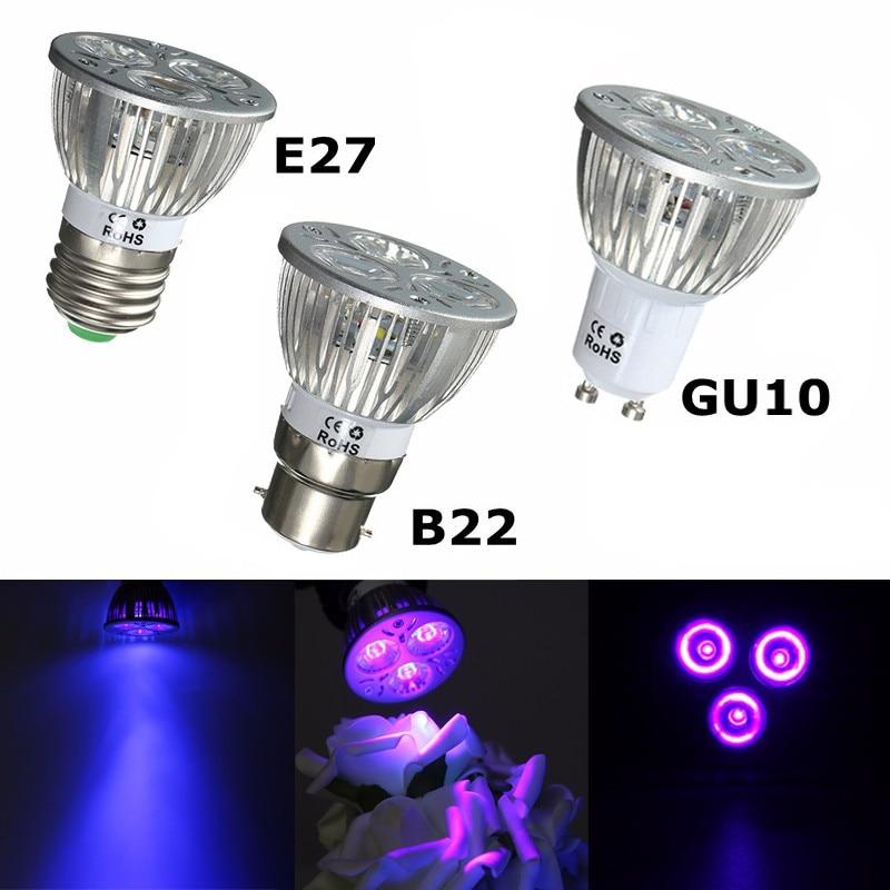 Sumuxi E27 B22 GU10 Grow Lights 3W UV Ultraviolet Purple LED Spot Light Bulb Lamp 85-265V Plant Grow Lamp