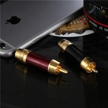 Coppe WinAqum Frete grátis de Alta qualidade chapeamento de ouro RCA conector RCA macho plugue linha de sinal plugue suporte 6.3mm cabo 2 pçs/lote