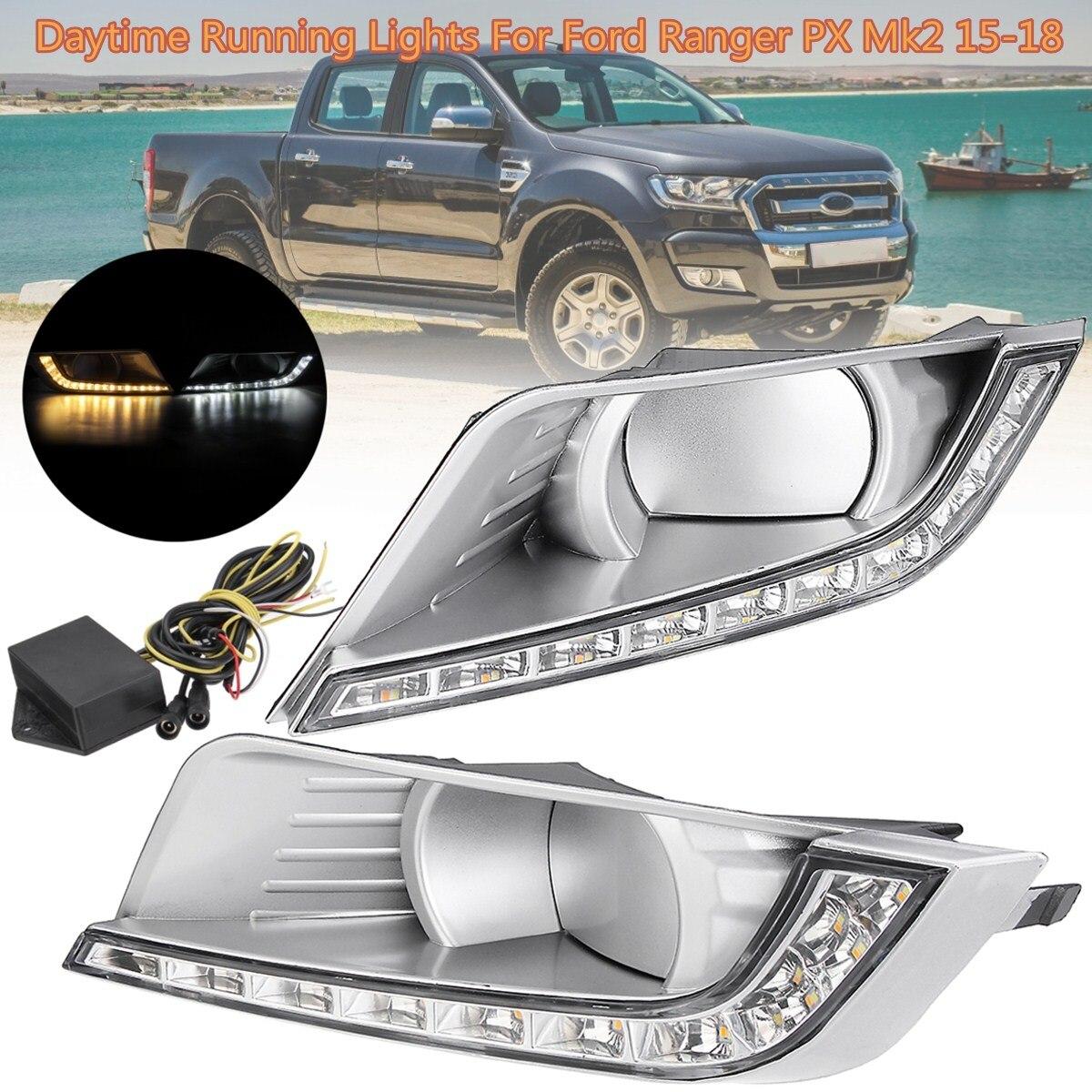 1Pair Fog Light Daytime Running Lights Daylight turn Signal DRL Lamp car Styling light for Ford Ranger PX Mk2 2015 2016~2018 smrke drl for ford ranger wildtrak 2015 2017 car led daytime running lights