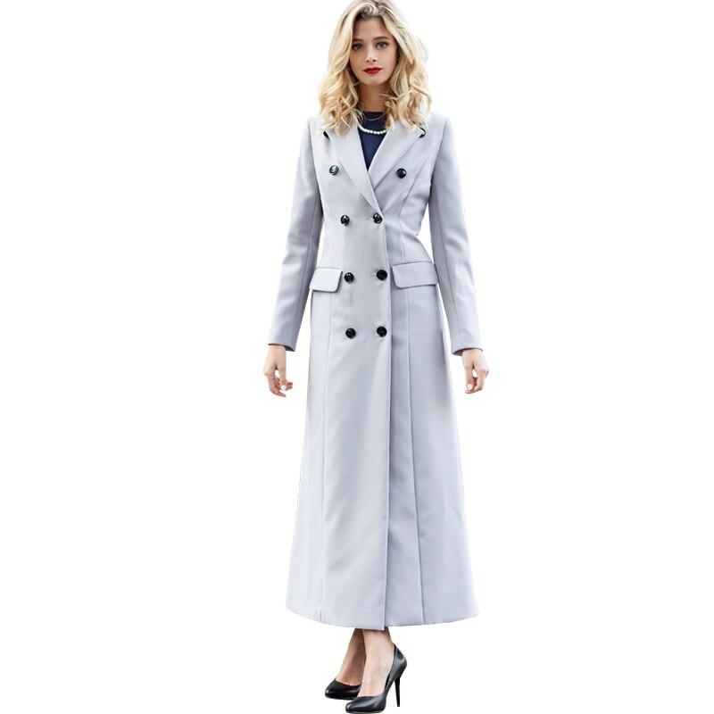 Boutons 5783a Double Style Col Femmes Ol Bressted Printemps Manteau Longueur Long Rabattu Britannique Pleine Pardessus x8dtUwd6