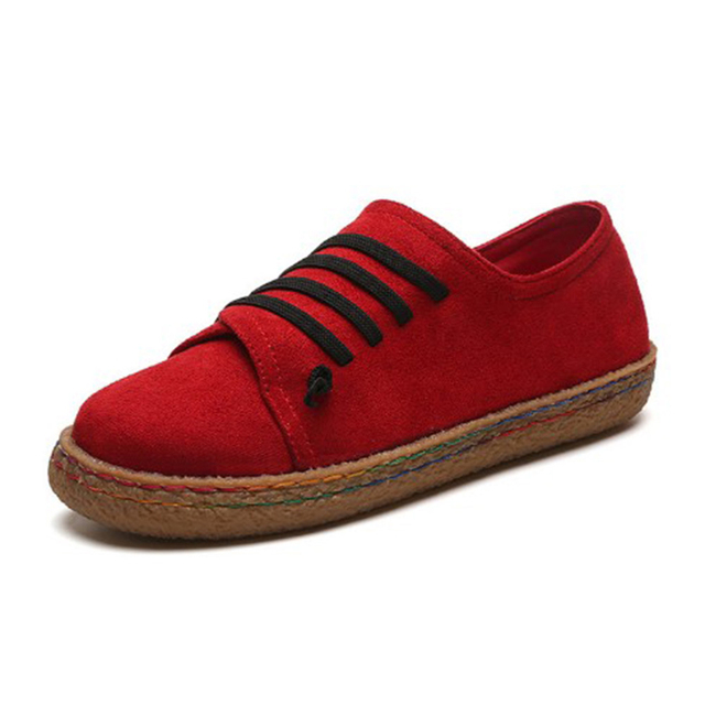 4e5e1a475e7 2018 Autumn Women Casual Flat Heels Shoes Woman Fashion Red Loafers Lazy  Student Boats Flock Slip