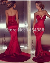 Sexy Low Cut Sweetheart Sheath Dark Red Satin Mermaid Prom Dresses Court Train 2014 Fashion Tight Dress Special Occasion