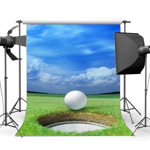 Image 1 - Golf Hintergrund Frühjahr Blauen Himmel Weißen Wolke Grün Gras Wiese Kulissen Picknick Im Freien und Wandern Sport Fotografie Hintergrund