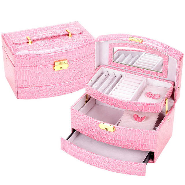 New Fashion women Crocodile leather sector Automatic gift jewelry box display organizer carrying case casket