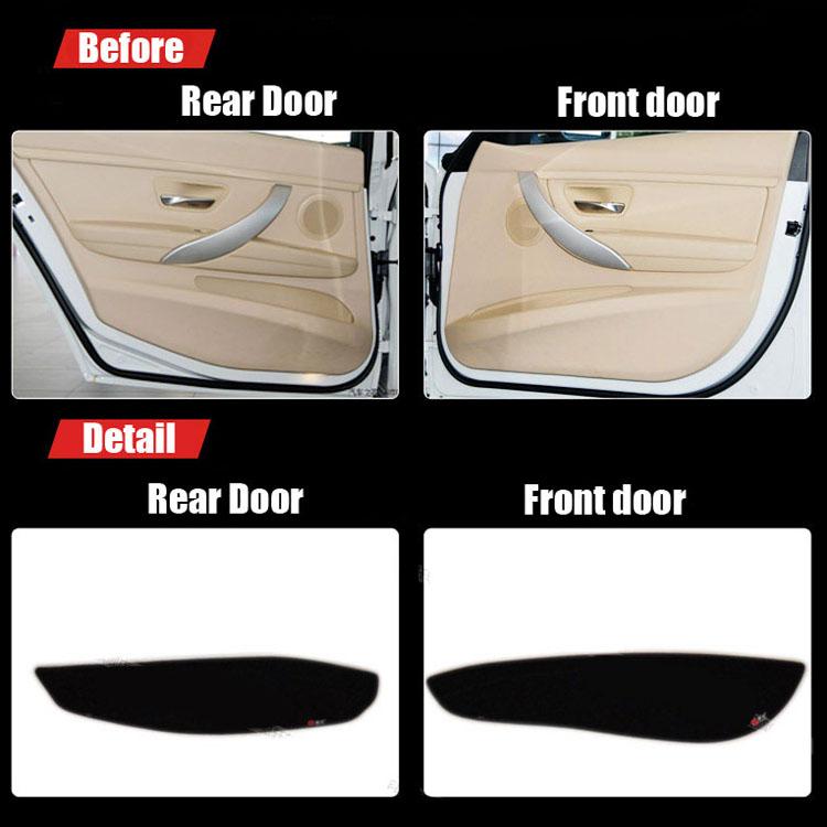 4pcs Fabric Door Protection Mats Anti-kick Decorative Pads For BMW 3 Series 2013-2015