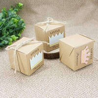 50pcs Set Kraft Paper Candy Box 5 3x5 3cm Cute Prince And Princess Baby Shower Gift