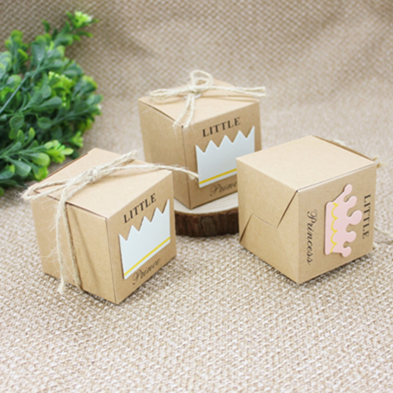 50pcs/set Kraft Paper Candy Box 5.3x5.3cm Cute Prince And Princess Baby Shower Gift Box For Kids Birthday Party Favor Supplies
