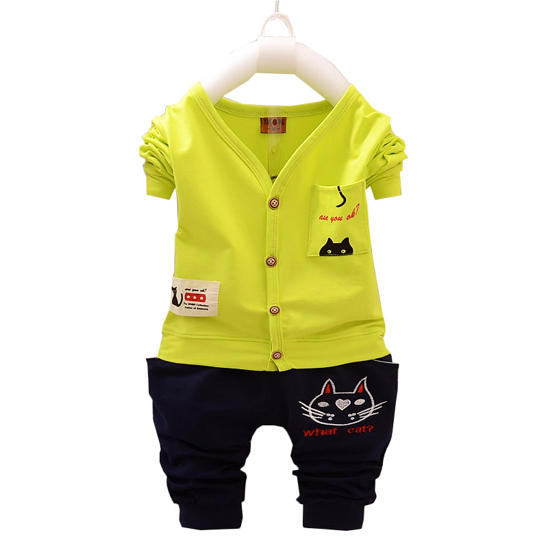 Fashion Summer Boy Clothing Suits Spring Autumn Kids Baby 1-4 T Clothes Sets Cat Tops+Pants Long Sleeve Cute Costume Kid Outfit