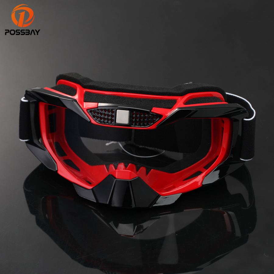 POSSBAY Motorcycle Googles Glasses Cycling UV Protection Ski Goggles Outdoor Sports Eyewear Motorbike Goggles for Sun Glasses