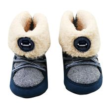 Autumn Winter Newborn Baby Boys Prewalker Soft Snow Boots Faux Fur Lace-up Warm Boots Snow Crib Shoe 0-18M