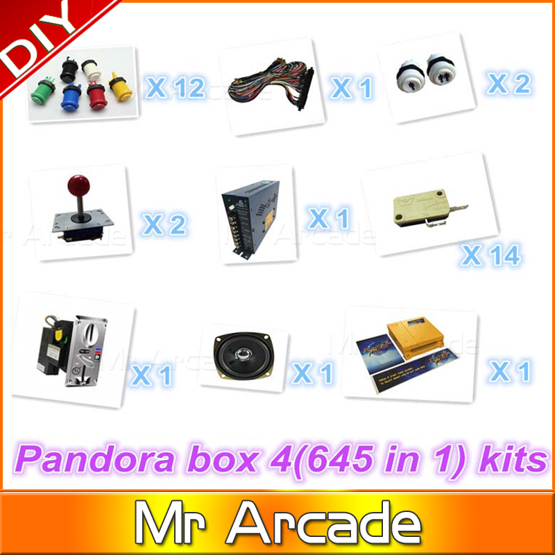 Jamma Arcade game kits with pandora box 4/645in1 game ,Power Supply,Arcade joystick ,Arcade Buttons ,Speaker for arcade game original mini arcade games pandora s box 4 jamma connector 645 in 1 jamma game pcb