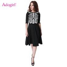 2a86d9cbcb42 Adogirl Halloween Squelette Imprimer Femmes Robe Noire O Cou Demi Manches  Flare Midi Robe Toussaint Costumes