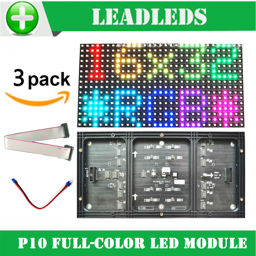 3PCS P10 Led Module Full Color Rgb 1/8 Scan 320*160mm Smd 3 In 1 Indoor P10mm Led Sign Module For Advertising LED Display Board