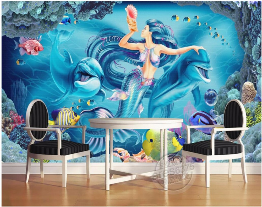 Custom mural photo 3d wall paper non woven and silk for Custom mural painting