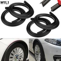 4PCS 4.9ft Black Universal Car Fender Flares Wheel Eyebrow Styling Fexible Moulding Protector Lip Anti Scratch Sticker Arch Trim