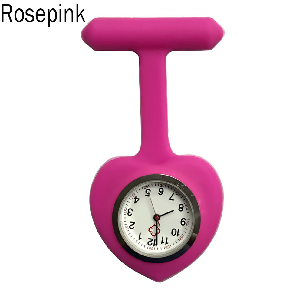 Silicone Nurse Love Heart Shape Watch Pocket Brooch Clip Medical Nurse Pocket Nursing Watch XIN-Shipping