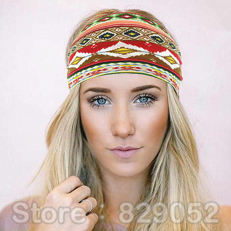 Bohemia Cotton Headband Boho Turban Headbands for Women Girls Flower Wide Elastic  Hair Bands Bandana Headwrap d2d1e17412b0
