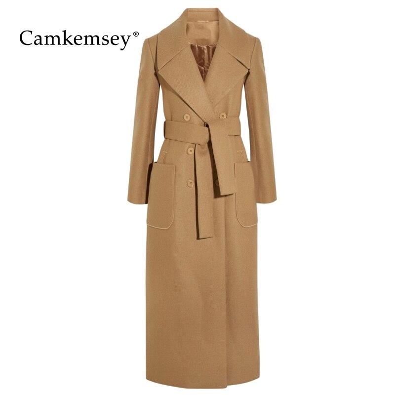 Manteau Pour Manteaux Laine Haute Qualité Camel Femmes D'hiver Longue En Outwear Mélanges Cachemire Camkemsey 2018 Élégante UwHHq