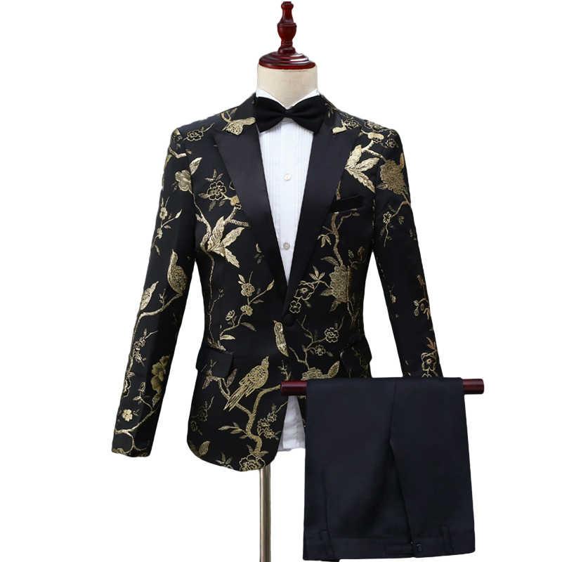Mens Luxury Slim Fit Stylish Suit Blazer Jacket /& Trousers Set 2-Piece