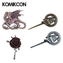 Game of thrones Hand Of The King Pin Brooch Dragon Rose Badge Vintage Retro Jewelry Halloween Party Costume Accessories Props(China)