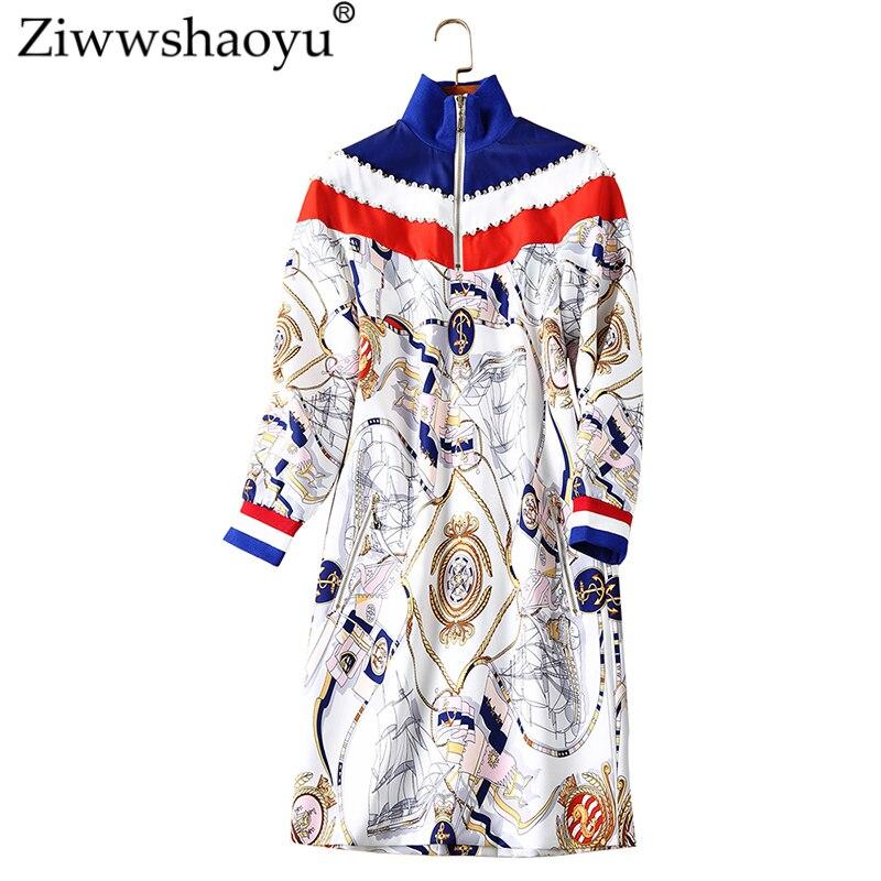 Ziwwshaoyu Casual Beading Straight Dress Print Stand Long Sleeve Slim Dress 2018 Autumn New Women