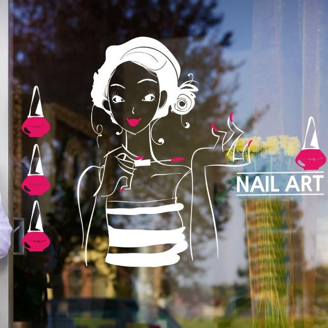 Nail Shop Wall Sticker Beauty Cosmetics Girl Wall Decal nail art ...