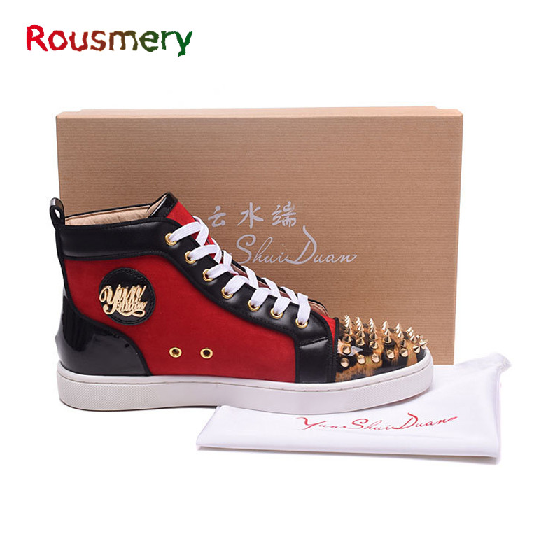 Hot Sales Mixed Colors Rivet Spring Autumn Attractive Couple Models Round Toe Chaussure Homme Soft Lace-Up Shoes Man