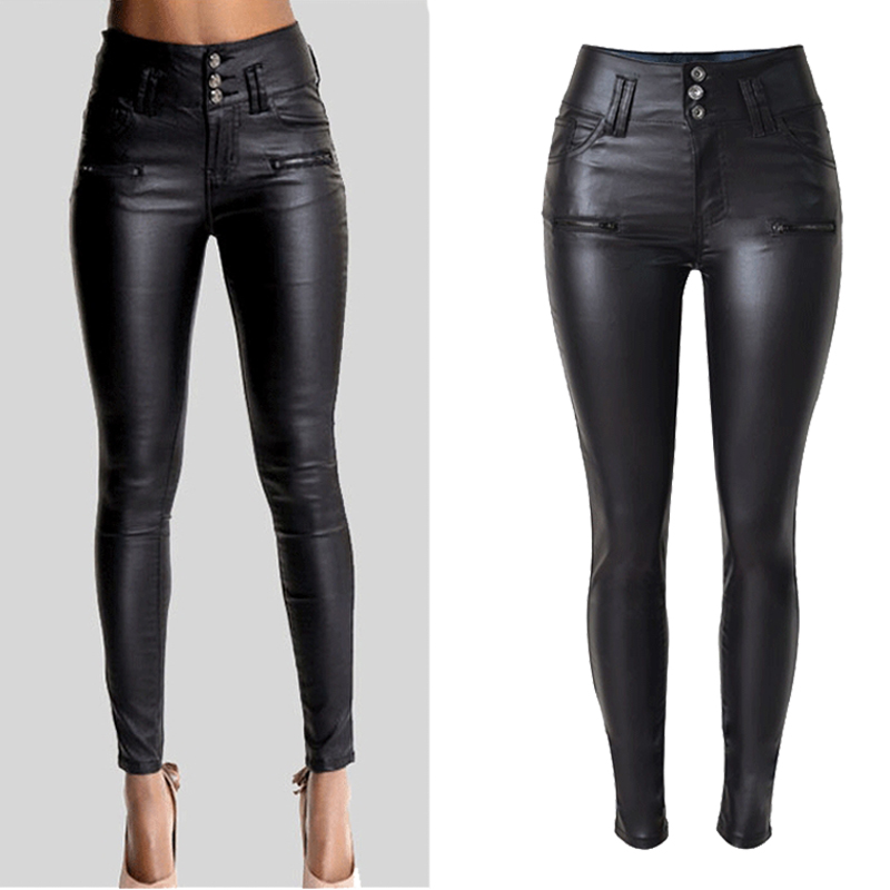 Big Plus Size PU Leather Pants Women Hip Push Up Black Sexy Female Stretch Leggings Jegging Casual Skinny Pencil Pants