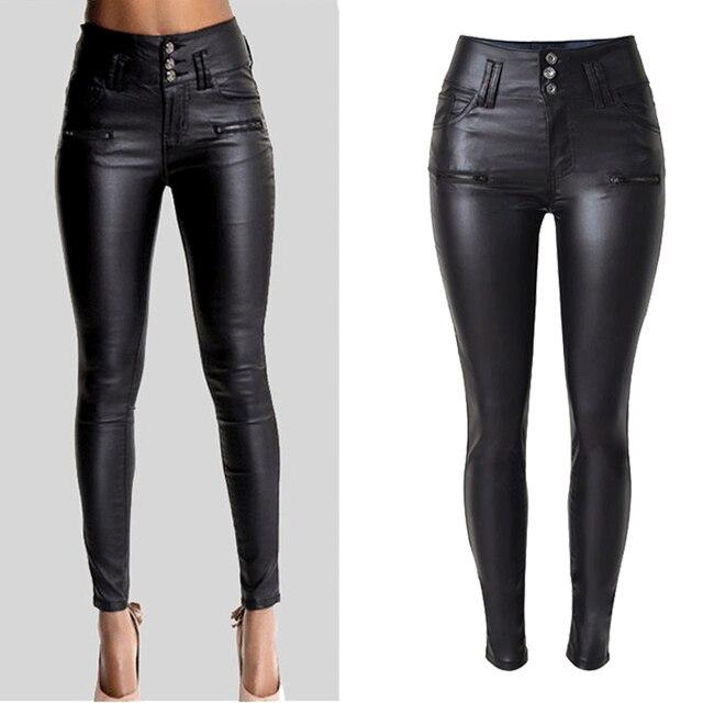 eabd26367996b2 Big Plus Size PU Leather Pants Women Hip Push Up Black Sexy Female Stretch  Leggings Jegging Casual Skinny Pencil Pants
