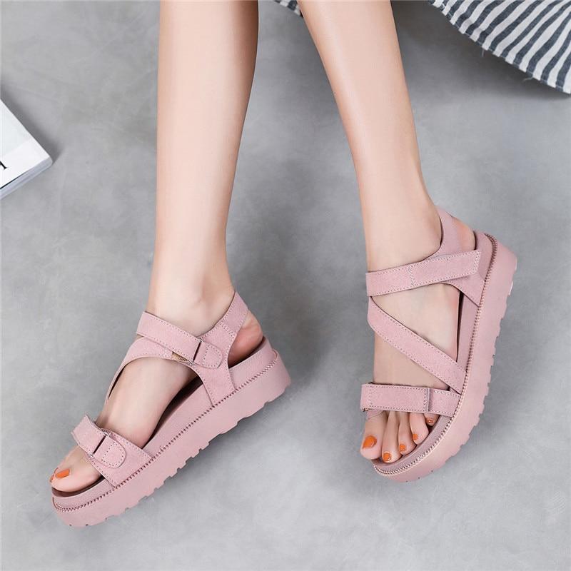 MALEMONKEY 922168 Women Flat Sandals 2020 Summer Female Open Toe Soft Casual Flat Platform Girl Beach Shoes Women Sandals Pink