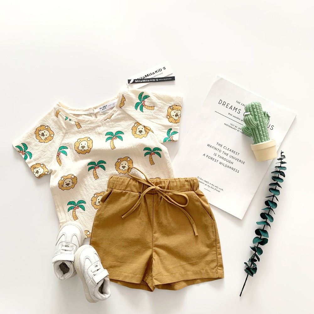 boy girl toddler clothes set cotton linen cute animal Coconut palm pattern toddler summer clothing set boy girl toddler clothes set cotton linen cute animal Coconut palm pattern toddler summer clothing set