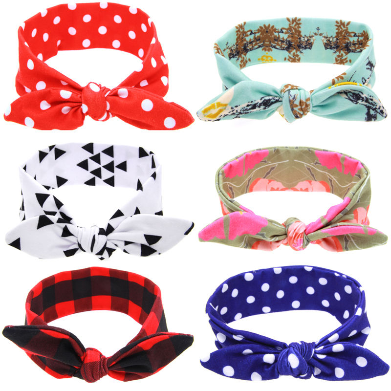 1 PC Lovely Kids Girls Bow Knot DIY Headband Bunny Rabbit Ears Hairband Elastic Turban Bow Knot Head Wrap Hair Accessories 1 pc women fashion elastic stretch plain rabbit bow style hair band headband turban hairband hair accessories